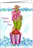 Happy Sister's Day Pink Hyacinth Flower card
