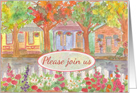 Welcome To The Neighborhood Party Invitation Houses Watercolor Painting card