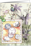 Antique Pocket Watch Flower Collage Note Card