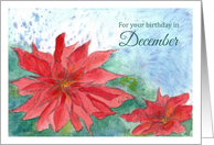 Happy December Birthday Red Poinsettia Flower card