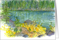 Autumn Trees Landscape Mountain Lake Watercolor Blank card
