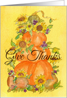 Give Thanks Pumpkin Topiary Happy Thanksgiving card