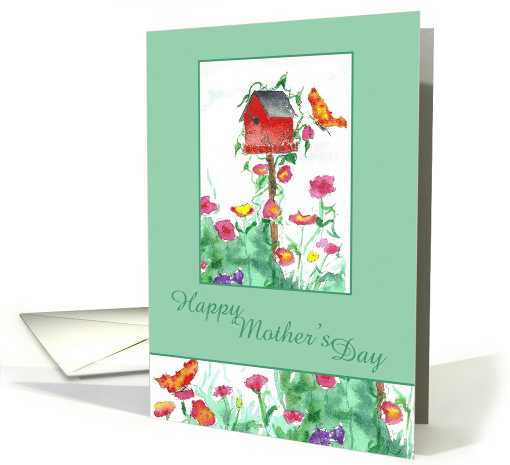 Happy Mother's Day Red Birdhouse Butterfly card (74857)
