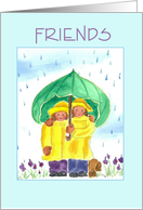 Thinking of You Rain or Shine Always Friends Little Girls Watercolor card