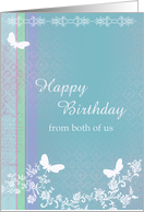 Happy Birthday from both of us butterfly lace flower card