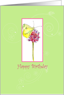 Happy Birthday Yellow Butterfly Wildflower card