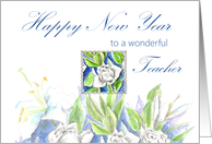 happy new year teacher white roses watercolor card