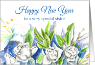 happy new year sister white roses watercolor card