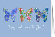 Congratulations To You New Job Butterfly Blue Flowers card