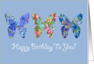 Happy Birthday To You Butterfly Blue Flowers card