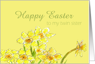 Happy Easter Twin Sister Yellow Daffodils Spring Flower card