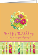 Happy Birthday Special Pen Pal Pink Aster Flower Watercolor card