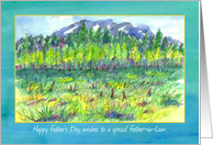 Happy Father's Day Father-in-Law Watercolor Mountain Meadow card