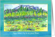 Happy Father's Day Partner Watercolor Mountain Meadow Landscape card
