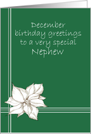 Happy December Birthday Nephew Poinsettia Flower Drawing card