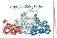 Happy Birthday on Labor Day Red White Blue Daisies card