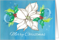 Merry Christmas White Poinsettia Flower Holly card