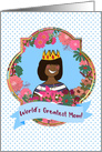 World's Greatest Mom! African American Mom, Crown, Mother's Day Queen card