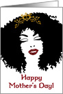 Happy Mother's Day, African Woman Silhouette, Faux Gold Glitter Crown card