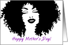 Happy Mother's Day!, Beautiful African Woman Silhouette, Natural Hair card
