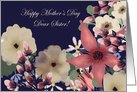 Sister Happy Mother's Day! Mixed Floral Border on Navy Blue card