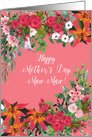Happy Mother's Day Maw Maw, Lilies and Roses Floral Border card