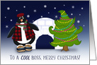 To A Cool Boss at Christmas Penguin, Christmas Tree, Igloo card