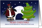 Business You Customize Text, Merry Christmas, Penguin Tree Igloo card