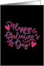 Happy Galentine's Day! Pink Hearts and Swirls For Any Gal card