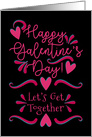 Happy Galentine's Day! Get Together Invitation Pink Hearts and Swirls card