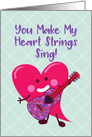 Valentine's Day Heart Character Playing Guitar card