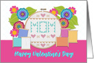 Happy Valentine's Day For Mom Embroidery Hoop and Flowers card