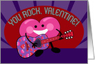 You Rock, Valentine! Whimsical Heart Character Playing Guitar card