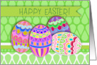 Happy Easter! Dyed Pysanky Easter Eggs, Green and Purple card