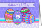 Happy Easter! Pysanky Decorated Eggs, Easter Bunny With Blue Bow Tie card