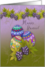 Happy Easter! Decorated Eggs, Purple Grapes and Swirls card