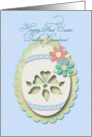 Happy First Easter Grandson, Decorative Paper Cut Out Look, Lace Egg card