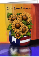 Our Condolences, Military Service, Sunflowers, Americana Reflection card