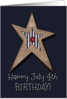 Happy July 4th Birthday! Prim Style Star with Stitching Faux Burlap card