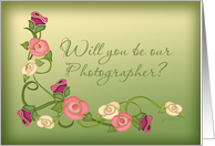 Will You Be Our Photographer? Stencil Roses card