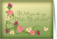 Will You Be My Make Up Artist? Stencil Roses card