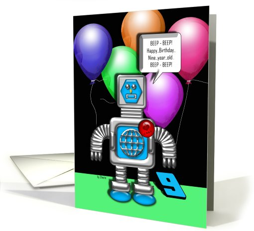 Happy Birthday Robot 9 Years card (609804)