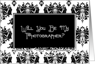 Will You Be My Photographer? Black and White Damask card