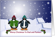Merry Christmas To Dad and Partner! Whimsical Penguins card