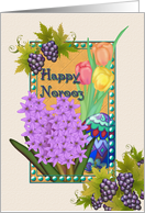 Happy Norooz, Persian New Year, Grapes, Spring Flowers, Eggs card