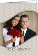 Engagement Announcement Photo Card, Taupe Lace card