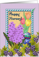 Happy Norooz, Persian New Year, Purple Grapes, Spring Flowers card