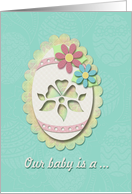 New Baby Gender Reveal Invitation, Decorative Egg and Flowers card