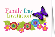 Family Day Invitation, Floral Art, Paisley Butterfly card