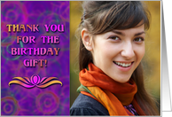 Birthday Gift Thank You Photo Card, Tie Dyed Circles, Groovy Purple card